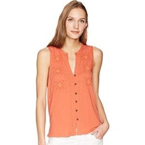 Lucky brand ginger spice embroidered tank